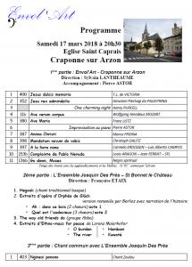 ENVOL'ART Concert Craponne sur Arzon 17 mars 2018 - Programme avec Josquin Des Près