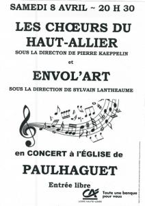 ENVOL'ART Concert Paulhaguet 8 avril 2017 - Affiche