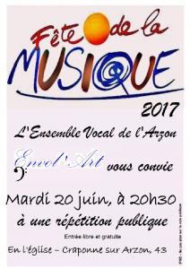 ENVOL'ART Répétition publique Craponne 20-06-2017 - Affiche Eglise