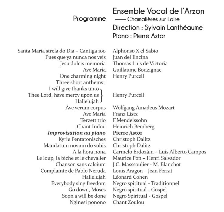 ENVOL'ART Concert Chamalères sur Loire 30 juin 2018 - Programme Spectateurs